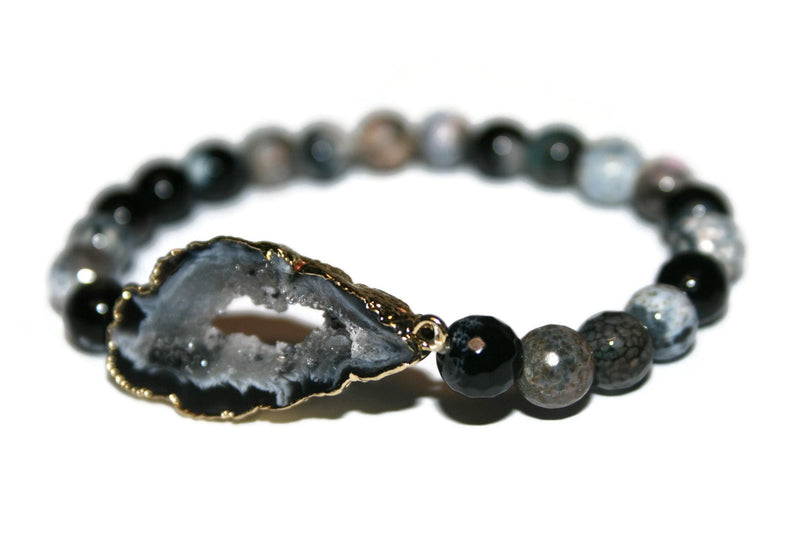 Druzy Collection | Handmade Black and White Agate Bracelet | Healing Beaded Bracelet - Zendelux Rose