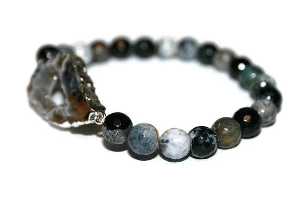 Druzy Collection | Handmade Black and White Agate Bracelet | Healing Crystal Bracelet for Women - Zendelux Rose