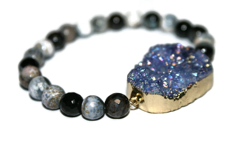 Druzy Collection | Purple Druzy Bracelet | Healing Crystal Bracelet for Women | Raw Stone Bracelet - Zendelux Rose