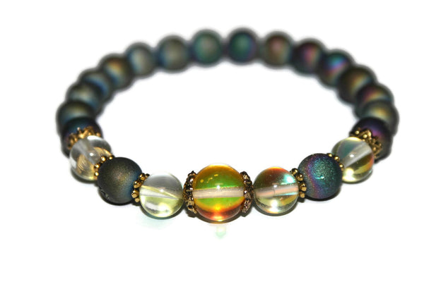 Women's Sunset and Sunshine Quartz Bracelet | Druzy Quartz Bracelets | Boho Jewelry