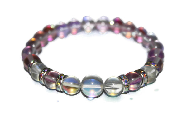 Women's Rose and Angel Quartz Bracelet | Gift for Her | Womens Beaded Bracelet - Zendelux Rose