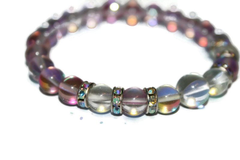 Women's Rose and Angel Quartz Bracelet | Gift for Her | Womens Beaded Bracelet