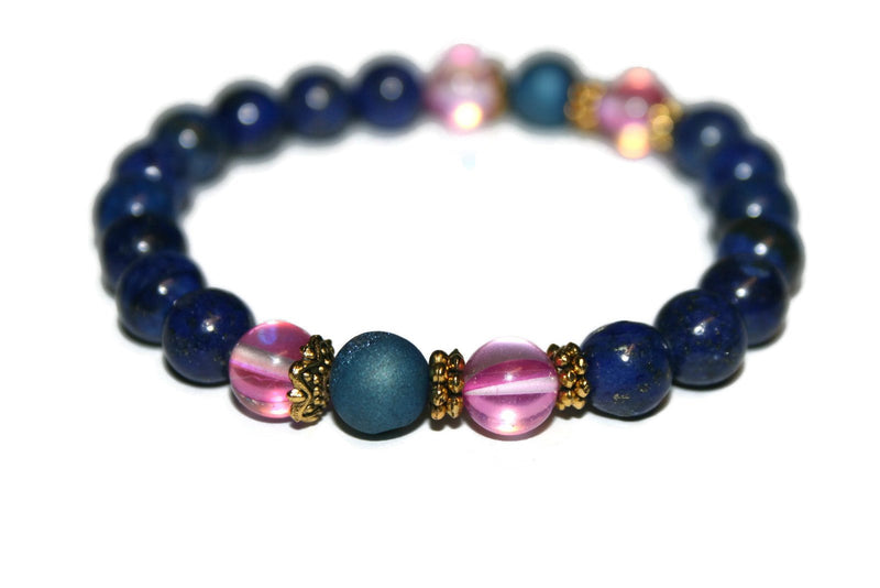 Women's Lapis Lazuli and Rose Aura Quartz Bracelet | Healing Crystal Bracelet | Lapis Jewelry - Zendelux Rose