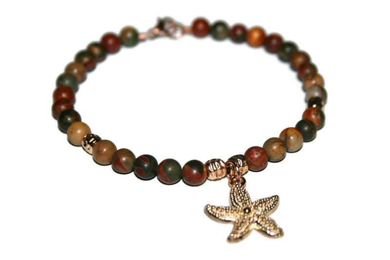 Women's Picasso Jasper Anklet | Starfish Ankle Bracelet | Beaded Anklet | Gift for Her | Handmade Jewelry for Women | Agate Anklet