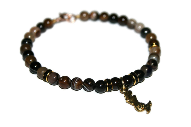 Women's Brown Striped Agate Anklet | Mermaid Ankle Bracelet | Beaded Anklet | Gift for Her | Handmade Jewelry for Women | Agate Anklet - Zendelux Rose