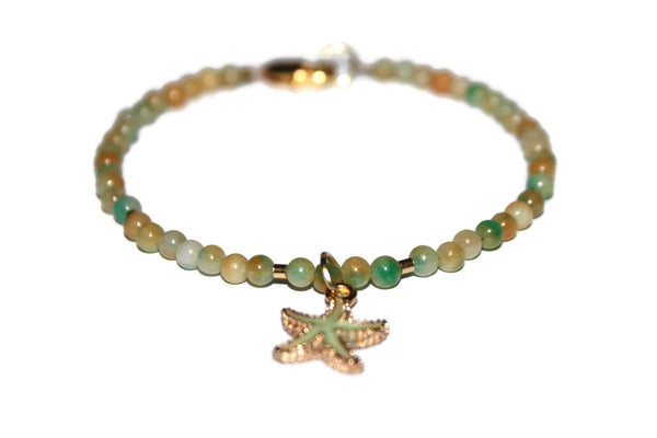 Women's Orange and Green Jade Anklet | Starfish Anklet | Jade Ankle Bracelet | Healing Crystal Anklet - Zendelux Rose