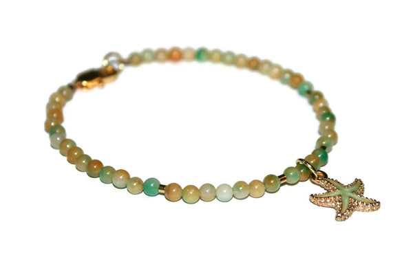 Women's Orange and Green Jade Anklet | Starfish Anklet | Jade Ankle Bracelet | Healing Crystal Anklet