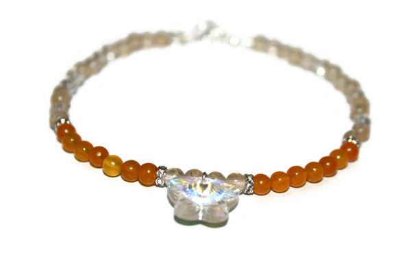 Women's Orange Jade and Quartz Anklet | Butterfly Anklet | Orange Bead Ankle Bracelet | Healing Crystal Anklet - Zendelux Rose