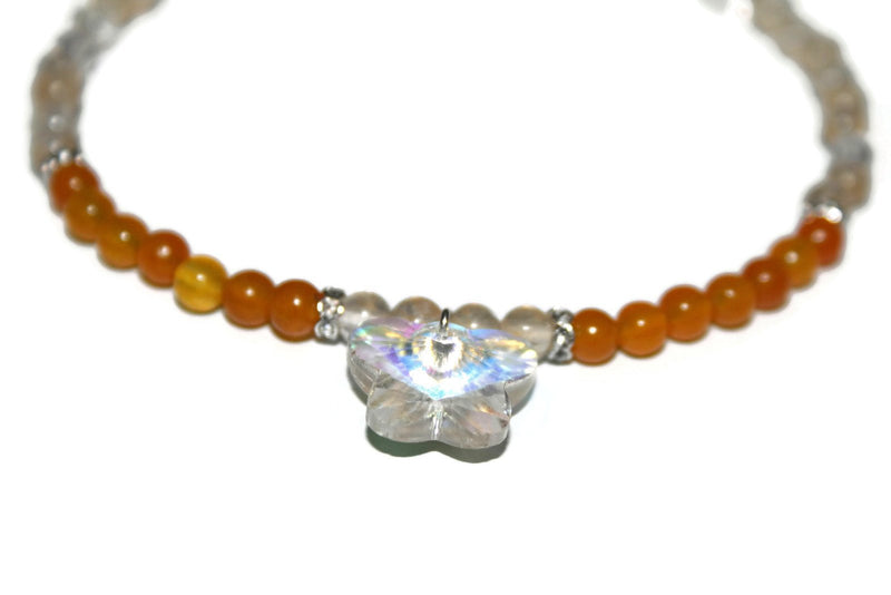 Women's Orange Jade and Quartz Anklet | Butterfly Anklet | Orange Bead Ankle Bracelet | Healing Crystal Anklet