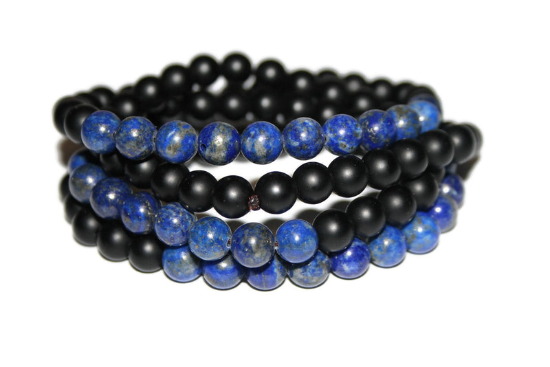 Men's Matte Onyx and Lapis Lazuli Necklace | Healing Crystal Necklace for Men - Zendelux Rose