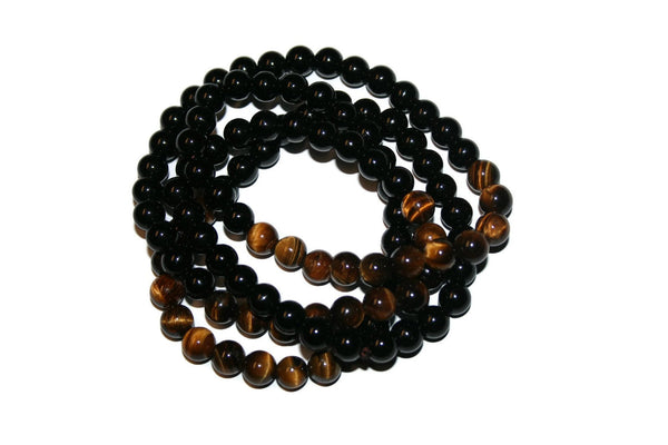 Men's Onyx and Tiger Eye Necklace | Healing Crystal Necklace for Men - Zendelux Rose