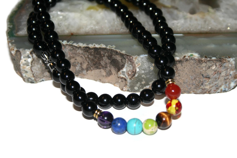 Chakra Necklace | Onyx Bead Necklace | Healing Crystal Necklace for Men - Zendelux Rose