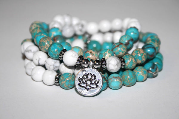 Blue Sea Sediment and White Howlite Necklace | Lotus Necklace | 108 Mala Bead Necklace | Yoga Mala Beads | Yoga Jewelry - Zendelux Rose