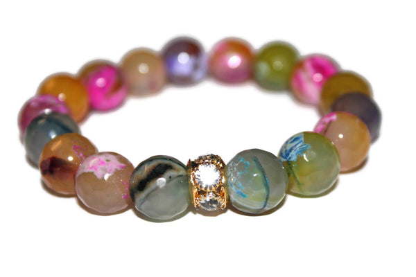 Women's Colorful Fire Agate Bracelet | Beaded Bracelet | Luxury Agate Jewelry for Women - Zendelux Rose