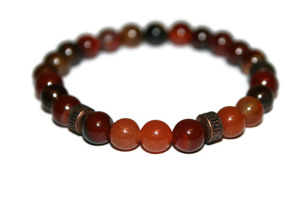 Carnelian and Red Agate Beaded Bracelet | Luxury Handmade Bracelet | Healing Crystal Bracelet - Zendelux Rose