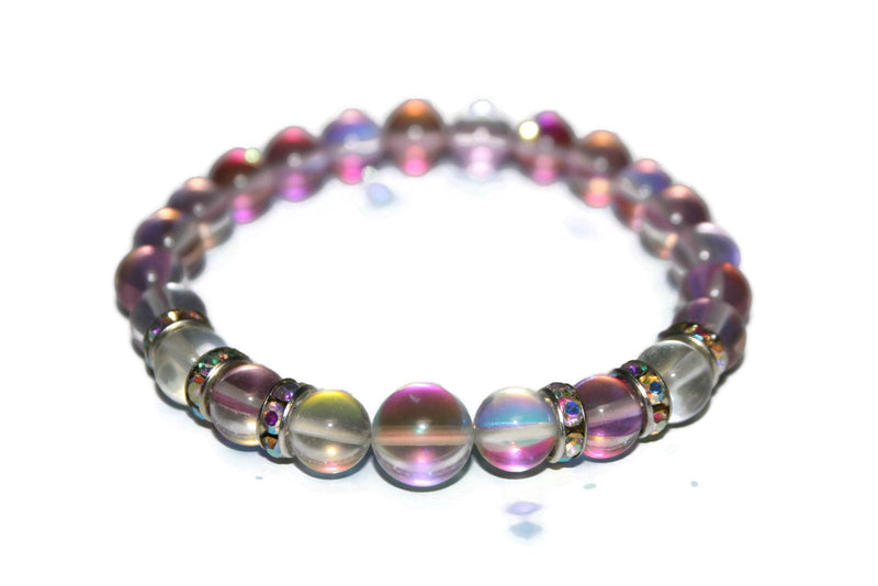 Women's Rose Aura Quartz and Angel Aura Quartz Bracelet | Luxury Handmade Bracelet | Healing Crystals Bracelet