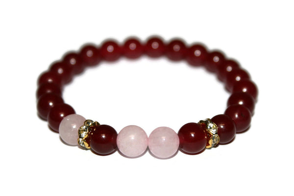 Ruby Red Jade and Rose Quartz Bracelet | Luxury Handmade Bracelet for Women - Zendelux Rose