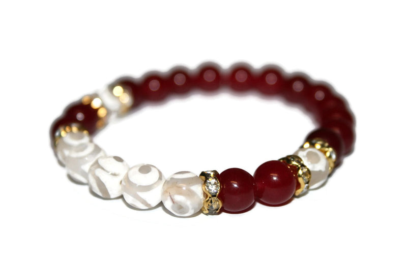 Women's Evil Eye Tibetan Agate and Ruby Bracelet | Luxury Handmade Bracelet | Healing Crystals Bracelet - Zendelux Rose
