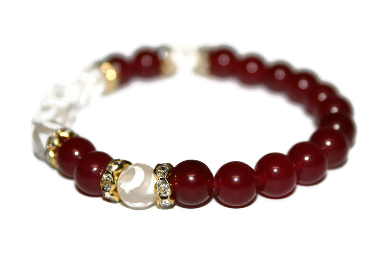 Women's Evil Eye Tibetan Agate and Ruby Bracelet | Luxury Handmade Bracelet | Healing Crystals Bracelet