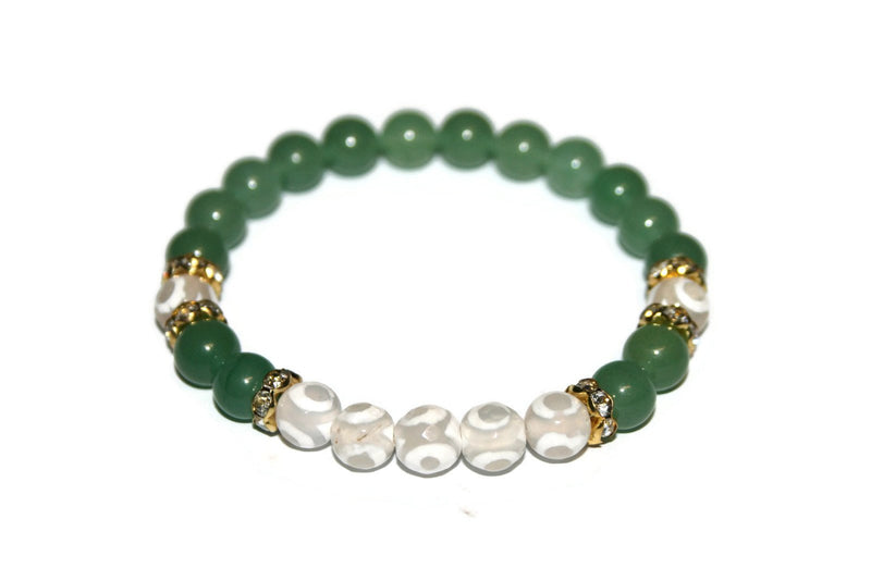 Evil Eye and Aventurine Bracelet | Luxury Handmade Bracelet for Women | Tibetan Agate Beaded Bracelet - Zendelux Rose