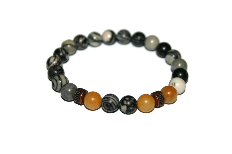Men's Spiderweb Jasper and Honey Jade Bracelet | Luxury Handmade Gemstone Bracelet - Zendelux Rose