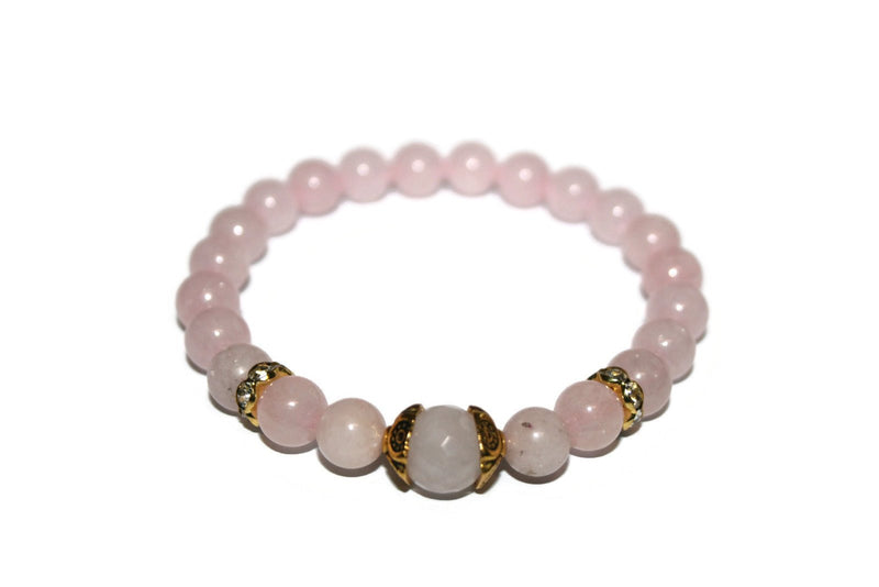Women's Cherry Blossom Jasper and Rose Quartz Bracelet | Luxury Handmade Bracelet | Healing Crystals Bracelet - Zendelux Rose