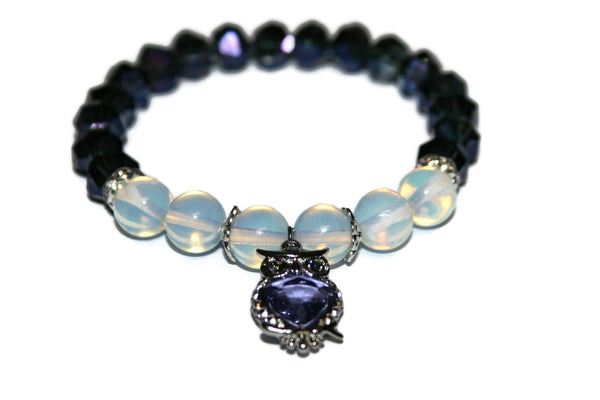 Women's Owl Opalite Bracelet | Luxury Handmade Purple Bead Bracelet | Stretch Bracelet for Women - Zendelux Rose