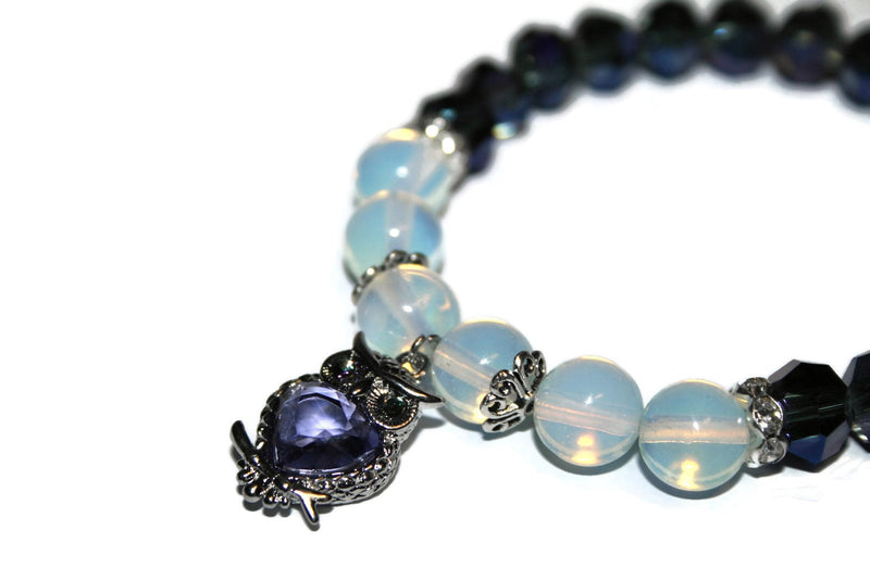 Women's Owl Opalite Bracelet | Luxury Handmade Purple Bead Bracelet | Stretch Bracelet for Women