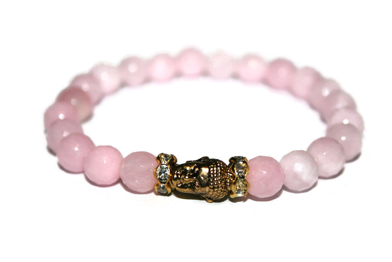 Women's Pink Jade Buddha Bracelet | Healing Crystals for Women | Luxury Handmade Bracelet