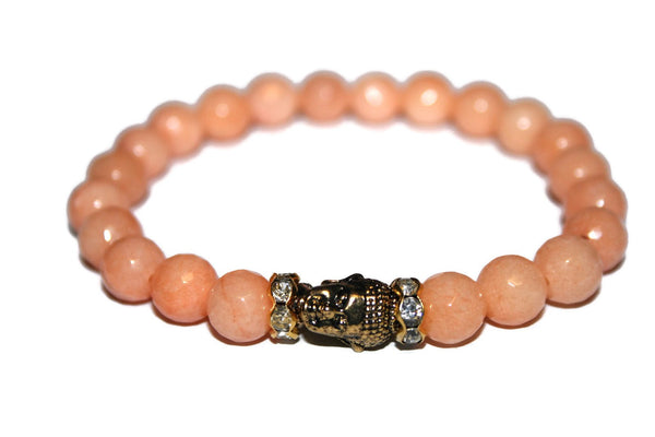 Women's Orange Jade Buddha Bracelet | Healing Crystals for Women | Luxury Handmade Bracelet - Zendelux Rose