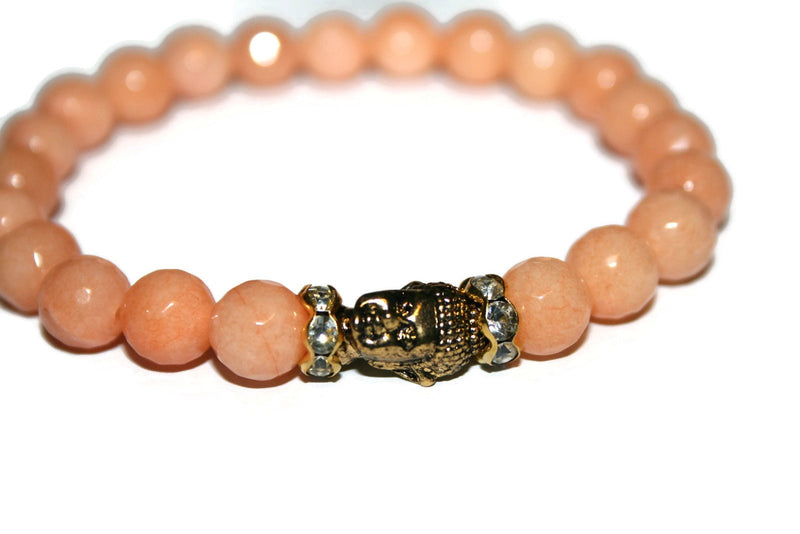 Women's Orange Jade Buddha Bracelet | Healing Crystals for Women | Luxury Handmade Bracelet