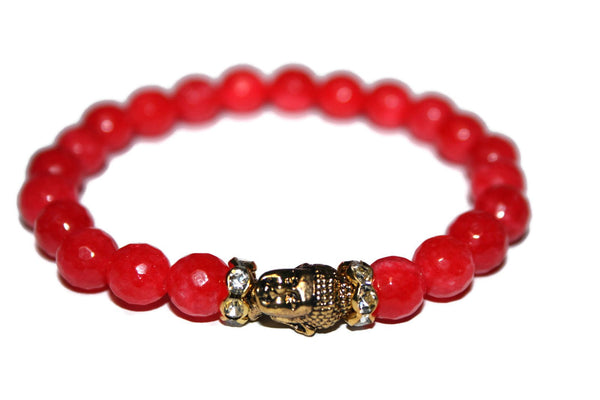 Women's Faceted Red Jade Buddha Bracelet | Healing Crystals for Women | Luxury Handmade Bracelet