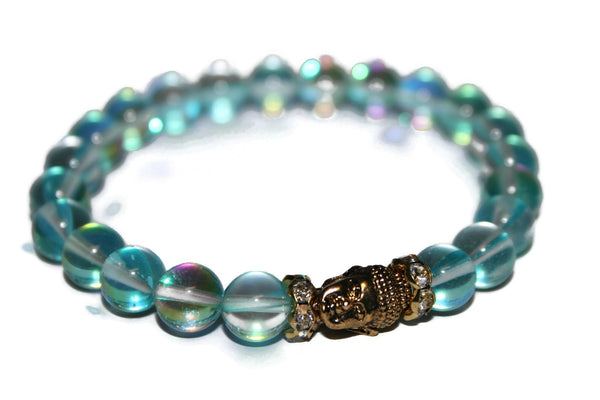 Women's Aqua Aura Quartz Buddha Bracelet | Healing Crystals for Women | Luxury Handmade Bracelet - Zendelux Rose