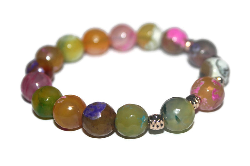 Women's Rainbow Agate Bracelet | Healing Crystal Bracelet | Handmade Luxury Bracelet for Women