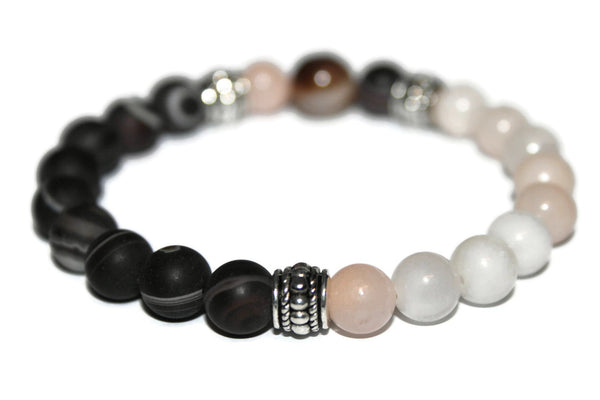 Men's Black Striped Agate & Jade Bracelet | Gemstone Bracelets for Men | Beaded Jewelry for Men - Zendelux Rose