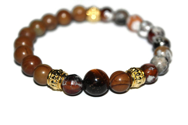 Men's Brown Agate & Wood Jasper Bracelet | Gemstone Bracelets for Men | Beaded Jewelry for Men - Zendelux Rose