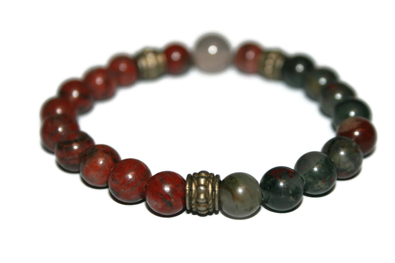 Men's Red Jasper, Agate & Bloodstone Bracelet | Gemstone Bracelets for Men | Beaded Jewelry for Men - Zendelux Rose