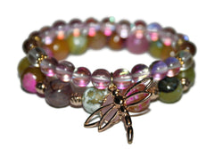 Women's Faceted Agate & Rose Quartz Aura Bracelet | Healing Crystal Bracelet | Handmade Luxury Bracelet for Women