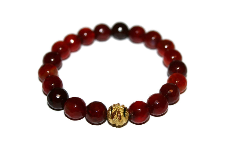 One with Nature Agate Collection Dahlia Bracelet | Handmade Red Agate Bracelet | 24k Gold Bead Bracelet | Healing Crystals - Zendelux Rose