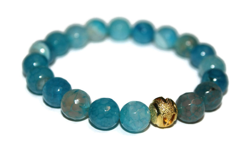 Light Blue Agate Bracelet | Handmade Bracelet | 24k Gold Bead Bracelet | Healing Crystal for Men - Zendelux Rose