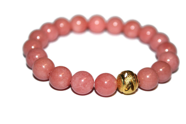 One with Nature Collection Cherry Blossom Bracelet | Handmade Light Coral Malaysia Jade Bracelet | 24k Gold Bead Bracelet | Healing Crystals - Zendelux Rose