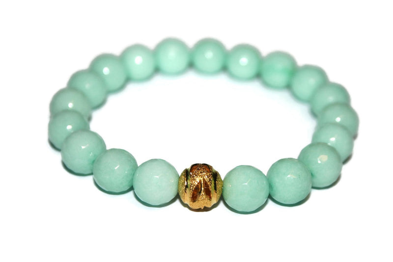One with Nature Collection Mint Rose Bracelet | Handmade Mint Green Malaysia Jade Bracelet | 24k Gold Bead Bracelet | Healing Crystals - Zendelux Rose