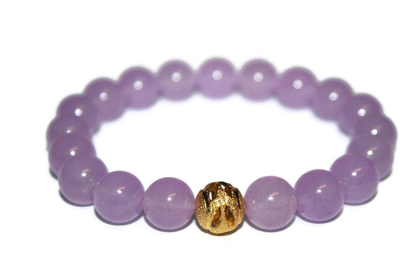 One with Nature Collection Lilac Bracelet | Handmade Lavender Purple Malaysia Jade Bracelet | 24k Gold Bead Bracelet | Healing Crystals - Zendelux Rose