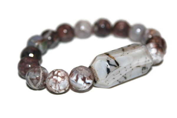 Men's Dragon Vein-Fire Agate Bracelet |  Luxury Handmade Bracelets for Men - Zendelux Rose