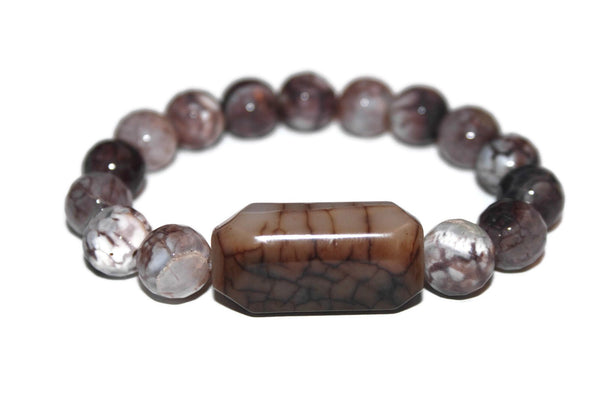 Men's Dragon Vein-Fire Agate Bracelet |  Luxury Handmade Bracelets for Men | Agate Jewelry | Gemstone Bracelet - Zendelux Rose