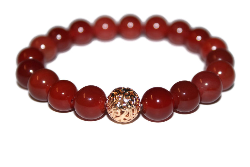 Men's Red Agate Bracelet | 10mm Beaded Bracelet | Men Healing Crystals | Agate Jewelry for Men - Zendelux Rose
