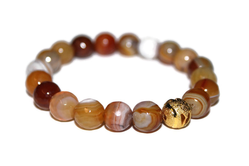 Yellow Agate Bracelet | Handmade Bracelet | 24k Gold Bead Bracelet | Healing Crystal for Men