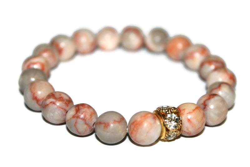 Red Root Jasper Bracelet | Yoga Jewelry | Jasper Beaded Bracelet | Boho Jewelry | Red Bead Bracelet - Zendelux Rose