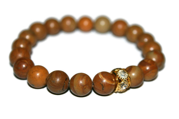 Men Wood Jasper Bracelet | Yoga Bracelet | Healing Crystal Bracelets | Men Jewellery | Brown Jasper - Zendelux Rose