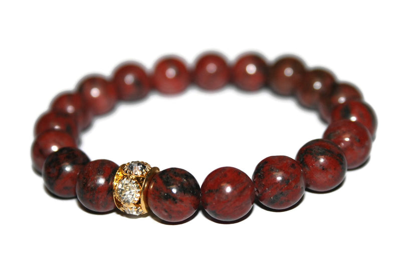 Men Black Mahogany Obsidian Bracelet | Beaded Jewelry for Men | Handmade Bracelet | Yoga Bracelet for Men - Zendelux Rose